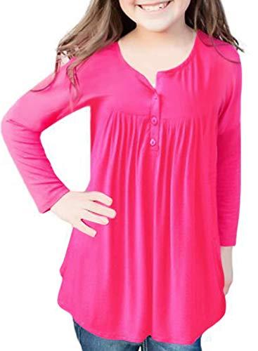 GOSOPIN Girls Button Neck Tunic Long Sleeve Blouse T Shirt XX-Large Pink ()