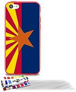 """Carcasa Flexible Ultra-Slim APPLE IPHONE 5C de exclusivo motivo [Bandera Arizona] [Roja] de MUZZANO  + 3 Pelliculas de Pantalla """"UltraClear"""" + ESTILETE y PAÑO MUZZANO REGALADOS - La Protección Antigolpes ULTIMA, ELEGANTE Y DURADERA para su APPLE IPHONE 5C"""