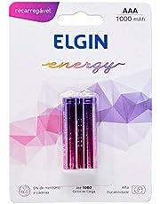 Pilha Recarregável Ni-MH AAA-1000mAh blister com 2 pilhas, Elgin, Baterias