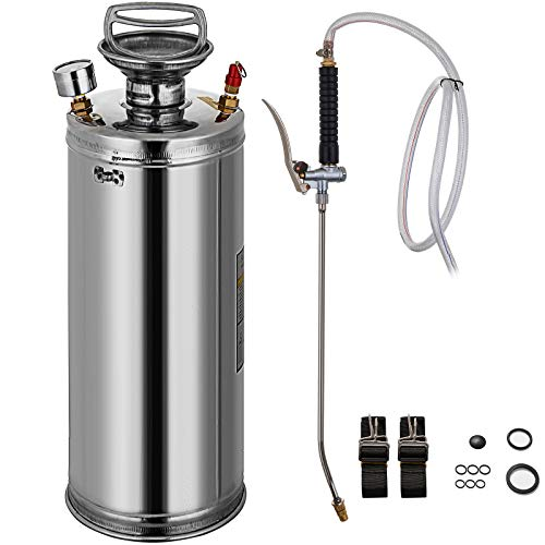 Happybuy Stainless Steel Sprayer 2 Gallon Steel Hand-Pump Sprayer with 3.3-inch Reinforced Hose Garden Sprayer for Home Gardening and Ground Cleaning
