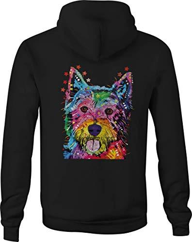 (Zip Up Hoodie Westie Terrier Hooded Sweatshirt for Men - 4XL Black)