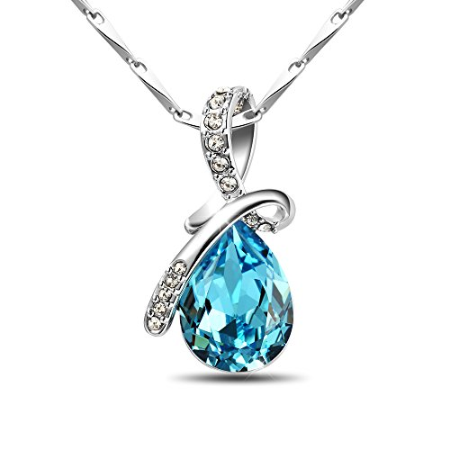 T400 Jewelers 925 Sterling Silver Teardrop Pendant Necklace Made with Swarovski Elements (Teardrop Gift Gifts)