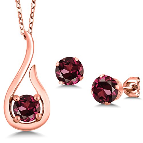 Gem Stone King 1.80 Ct Red Rhodolite Garnet 18K Rose Gold Plated Silver Pendant Earrings Set With Chain