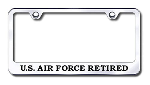 AU-Gold Chrome Stainless Steel License Plate Frame Laser Etched US AIR Force Retired