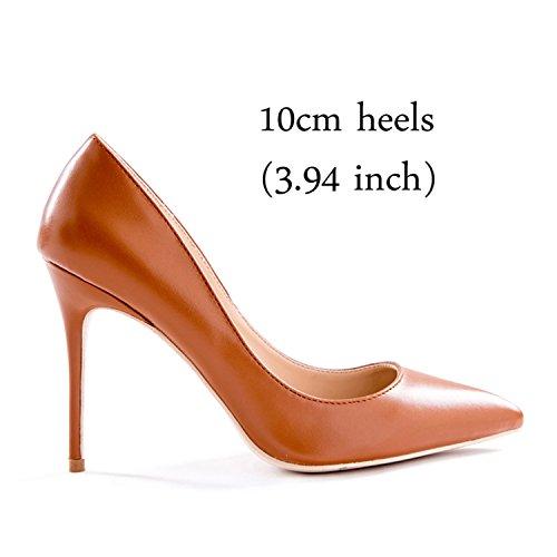 10cm Per Pompe Z Colore Alti 3 10 12 Abito Altezza Tallone Size11 Donne Centimetri Talloni Gome Marrone wq8ARR