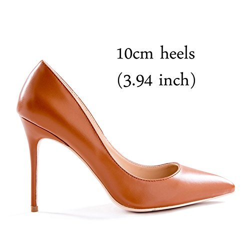 Värin Naisten Korkokengät Koron Gome Size11 z 3 12 Hääpuku Korkeus 10cm Pumput Kengät Ruskean 00Xtzq