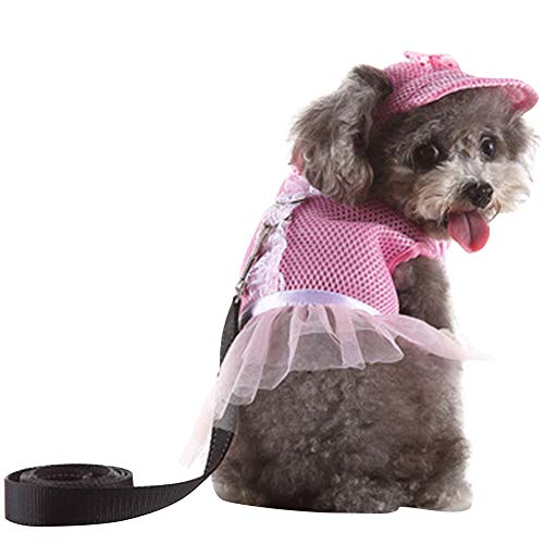 AOFITEE Dog Mesh Vest Harness with Leash & Summer Hat Set, Cute Dots Floral Print Pet Tutu Dress with Bowtie, No Pull Pet Harness Padded Vest for Walking, Hiking -