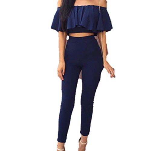 WanYang Mujer Body Mujer Sleeveless Alto Thermo Body Elástica Bodysuit 2 Pedazos Azul Profundo