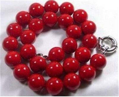FidgetGear Charming 10mm Red Sea Coral Gems Round Beads Necklace 18