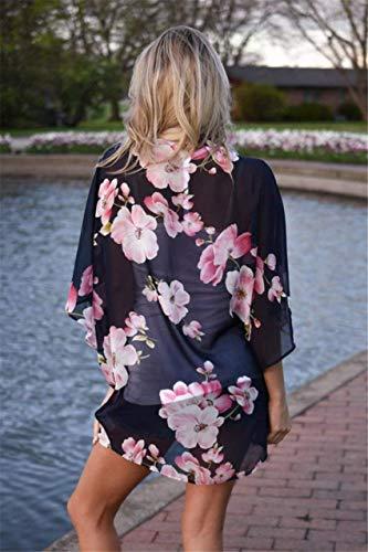 Large Vintage Femme Manches Tunique Kimono Motif Ar 4 3 Fleur Mousseline Elgante Navy Dcontract Mince Fille Fashion Plage Et Cardigan Blouse Tops Classique 57Rdqz5