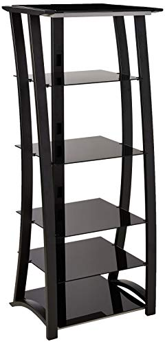 Open 5-Shelf Media Tower Matte Black and Silver