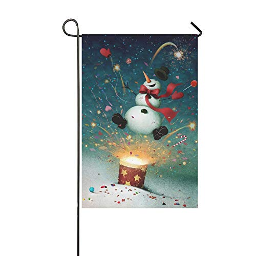 (WBSNDB Home Decorative Outdoor Double Sided Holiday Greeting Card Cheerful Snowman Garden Flag,House Yard Flag,Garden Yard Decorations,Seasonal Welcome Outdoor Flag 12 X 18 Inch Spring Summer)