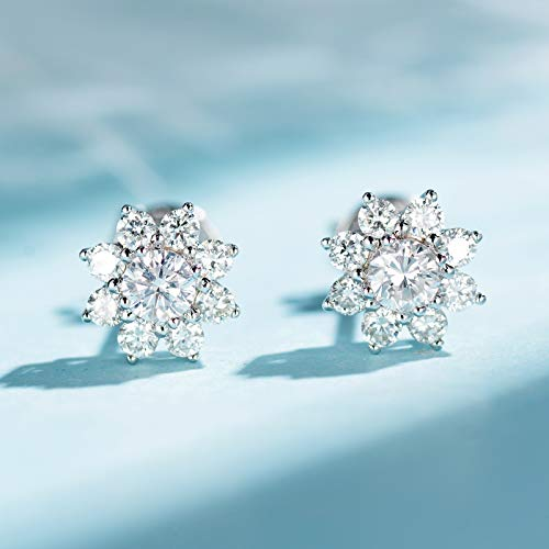 Unique 18k platinum refined snowflake diamond earrings 0.1ct main diamond aesthetic diamond earrings female birthday gift present stud earrings for women