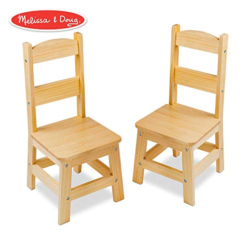Melissa & Doug Solid Wood Chairs, Chairs for Kids, Light-Finish Furniture for a Playroom (Durable Construction, Set of 2, 28