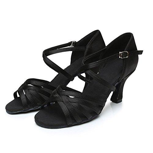 Cdso Black Women Satin Salsa Ballroom Latin Dance Shoes Heel 2.76 inches,6 B(M)US/22.9CM