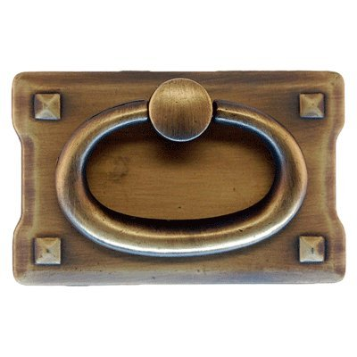 PM-202 SMALL ANTIQUE BRASS HORIZONTAL MISSION DRAWER PULL HANDLE ANTIQUE CABINET, DESK OR ANY VINTAGE FURNITURE REPRODUCTION RESTORATION HARDWARE + FREE BONUS (SKELETON KEY BADGE) (1)