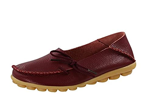 Century Star Women's Fashion Casual Leather Lace-Up Driving Moccasins Loafer Flats Slipper Boat Shoes Wine Red 7 B(M) (Great Lengths Anti Tap)