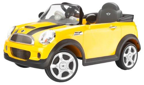 kid trax mini cooper 6v ride on car yellow