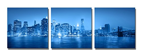 The Decor Shop - Canvas Prints City View Blue Pictures Print on Canvas Wall Art Stretched Artwork for Home Office Decorations 20x20inch