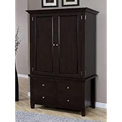 Armoire Wood 4-drawer Wardrobe Closet Tv Cabinet Storage Chest Brown Finish, 2 Adjustable Shelves, Stainless Steel Drawer Handles