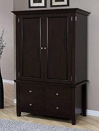 Armoire Wood 4 drawer Wardrobe Closet Tv Cabinet Storage Chest Brown  Finish  2 Adjustable. Amazon com  Armoire Wood 4 drawer Wardrobe Closet Tv Cabinet