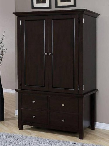 Armoire Wood 4-drawer Wardrobe Closet Tv Cabinet Storage Chest Brown Finish, 2 Adjustable Shelves, Stainless Steel Drawer Handles - Tv Armoire Wardrobe