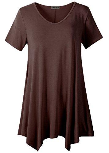 (LARACE Women Casual T Shirt V-Neck Tunic Tops for Leggings(1X, Coffee))