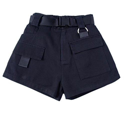 vintage vita Oudan Nero con per casual l'estate donna cintura ampia in elastico Pantaloncini wqEE7arX