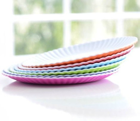 Glitterville Reusable Melamine Dinner / Picnic Plate, 9 Inch, Set of 6