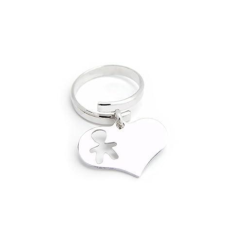 hot-vente authentique divers design trouver le prix le plus bas Anello con ciondolo cuore pendente e sagoma bimbo personalizzabile in  argento 925 rodiato