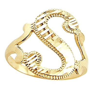 Amazon Letter Ring S Initial Band 14k Yellow Gold Cursive