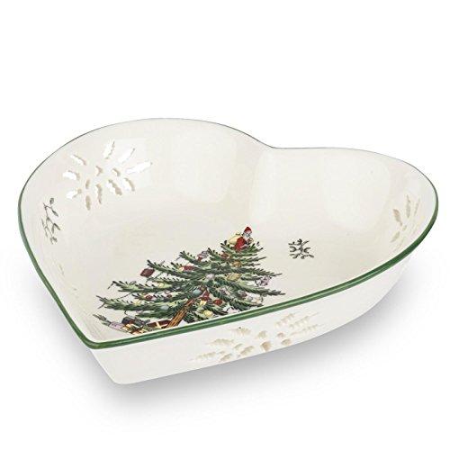 Spode Christmas Tree Pierced Heart Tray, 7-Inch