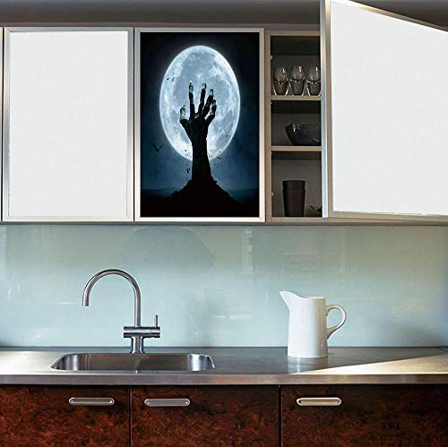 YOLIYANA Static Cling Decorative Window Film,Halloween Decorations,Suitable for Kitchen, Bedroom, Living Room,Zombie Earth Soil Full Moon Bat Horror Story,24''x36'']()