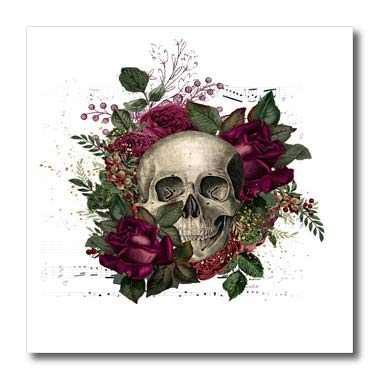 3dRose Anne Marie Baugh - Illustration - Pretty Purple Floral and Skull Illustration - 10x10 Iron on Heat Transfer for White Material (ht_317614_3)