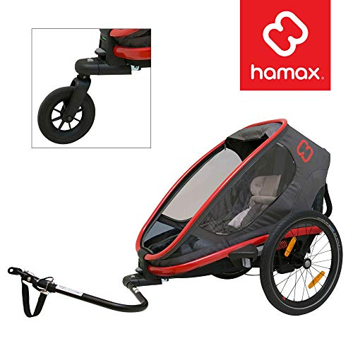 Hamax Outback Multi-Sport Child Bike Trailer + Stroller (Jogger Wheel Sold Separately) (One Seat, Charcoal/Red)