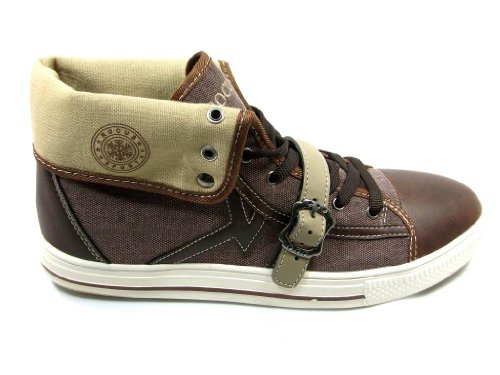 Mens GF-03 High Top Lace Up Casual Sneaker Boots Brown OsV8kk