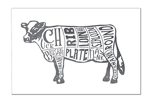 Beef - Butchers Block Meat Cuts - Blue Cow on White (18x12 Acrylic Wall Art Gallery Quality)