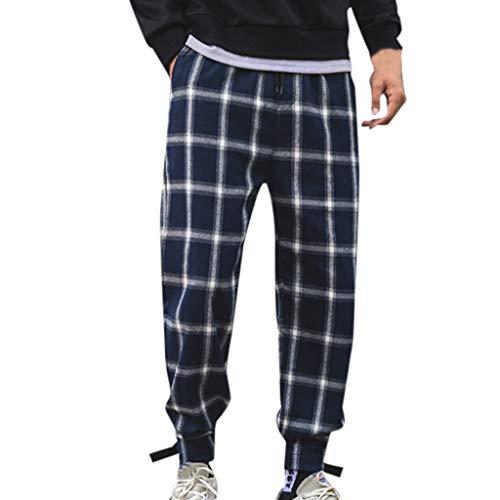 iYYVV Mens Summer Fashion Casual Harem Pants Lattice Long Pants Black