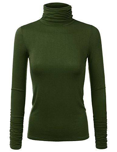 JJ Perfection Women's Lightweight Stretchy Turtle Neck Ruched Long Sleeve Top Olive XL