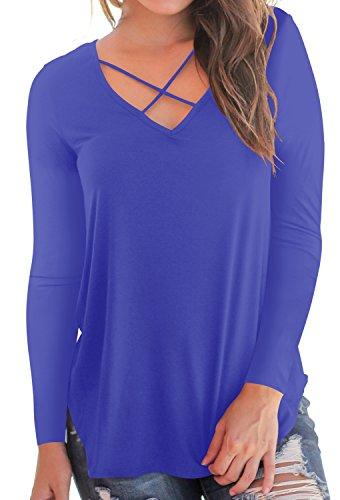 5f2f97155cd72d Women's Tops Cross Front Deep V-Neck Long Sleeve Tees Top Blue XL