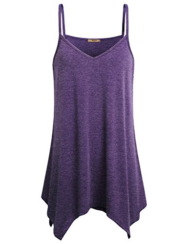Miusey Tank for Leggings Womens V Neck Fowly Swing Tunic Tops Handkerchief Hem Spaghetti Strap A Line Casual Summer Stretch Asymmetrical Beach Party Loose Fit Soft Comfortable Camisoles Purple ()