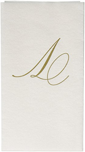 (Entertaining with Caspari White Pearl Paper Linen Guest Towels, Monogram Initial V, Pack of 24)