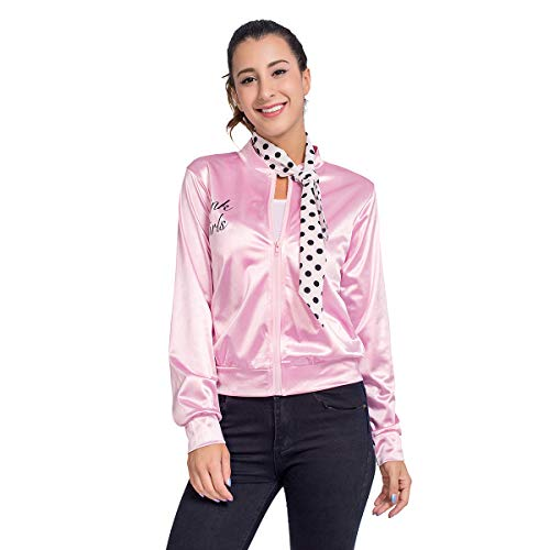 Grease Costume for Women, Pink Zipper Costumes Jackets for Ladies with Polka Dot Scarf L -