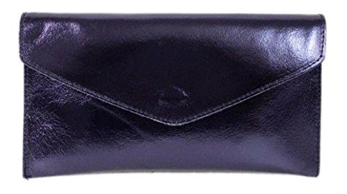 Brand Verapelle Genuine Italian Suede Large Envelope Shaped Clutch bag Purse handbag Rebecca Clutch Party Prom Clutch Metalic Dark Navy