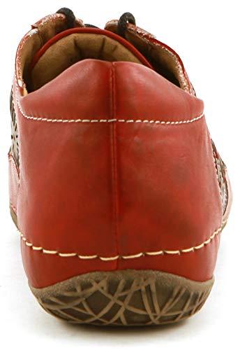 Women's Red Leather Lace Cassandra Walking Sneaker COMFORTIYA Up zxO86wzR