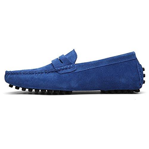 de Premium Zapatos Slip Barco del de Planos Mocasín Hombres Los Gamuza de Azul YAER on Mocasines Conducción q1xtRSpq