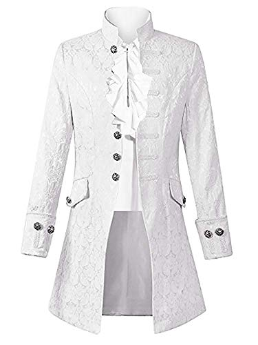 Taoliyuan Mens Steampunk Jacket Costume Gothic Renaissance Medieval Victorian Adult Cosplay Formal Coat White