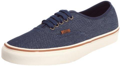 Vans Authentic Skate Shoe, (Denim) Dark Blue/Marshmallow, Size 10.5 Mens / 12 Womens