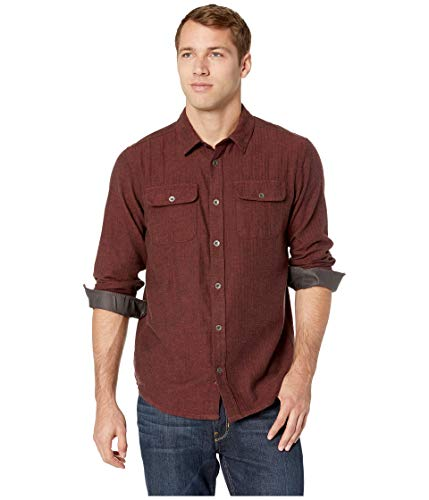 (prAna Men's Lybek Long Sleeve Flannel Button Down Shirt, X-Large, Mulled Wine Herringbone)