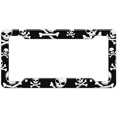 (Graphics and More Blank Pirate Jolly Roger Skull Crossbones Pattern License Plate Frame)